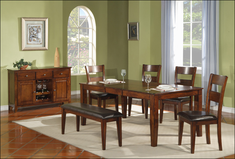Amber Collection   Leg Table With Leaf U0026 6 Chairs